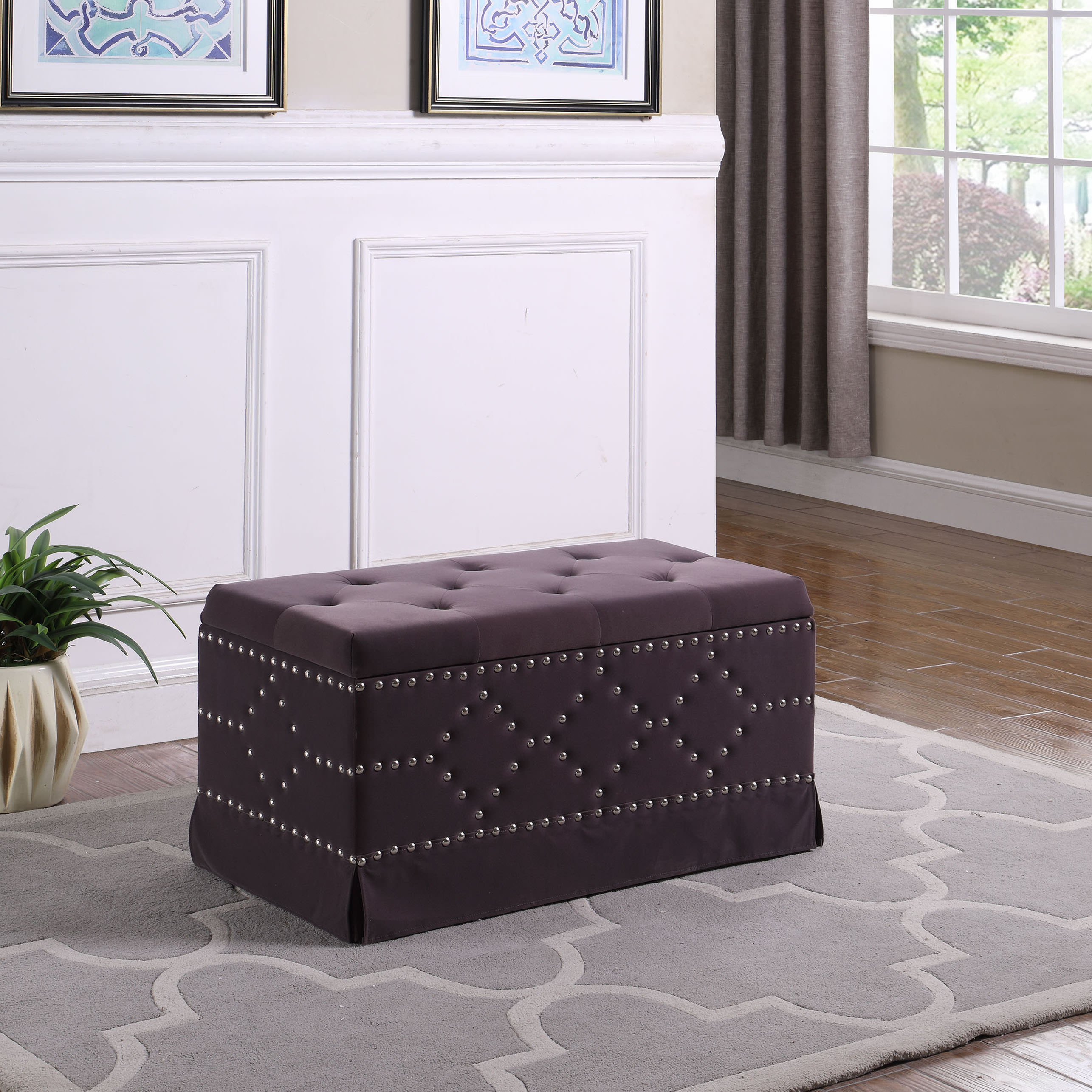 "18"" in Gray Velvet Chrome Nailhead Studs Tufted Storage Bench + 2 Seatings"