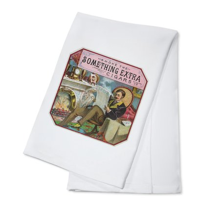 Extra Cigars - Something Extra Brand Cigar Outer Box Label (100% Cotton Kitchen Towel)