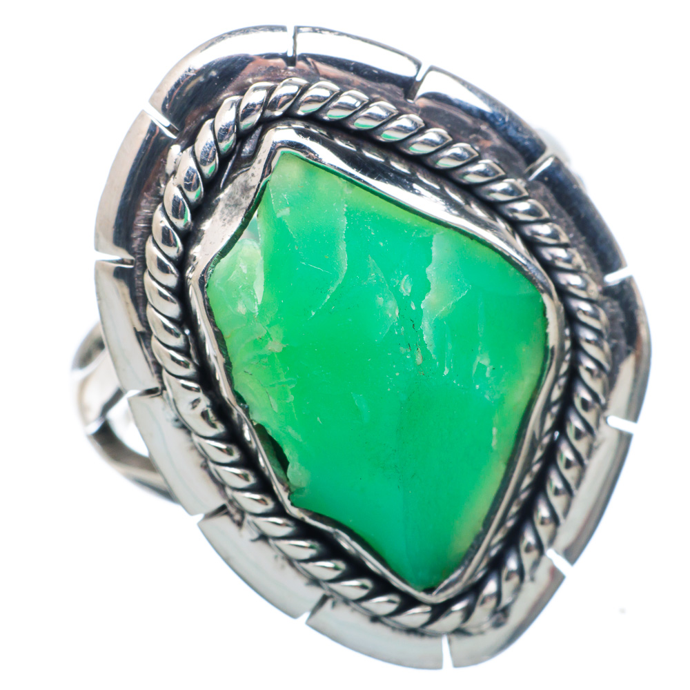 Ana Silver Co Rough Chrysoprase 925 Sterling Silver Ring Size 9 Handmade Jewelry RING882840 by Ana Silver Co.