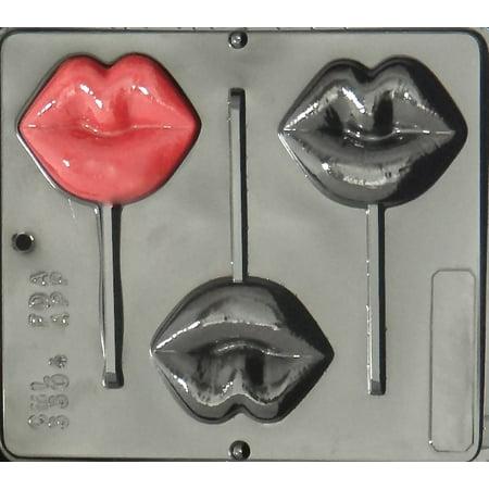 3304 Lips Lollipop Chocolate Candy Mold - Lollipop Lips Emoji