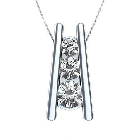 Harry Chad Enterprises 23812 2.25 CT 3 Stone Style Diamonds Pendant Necklace - 14K White (2.25 Ct 3 Stone)