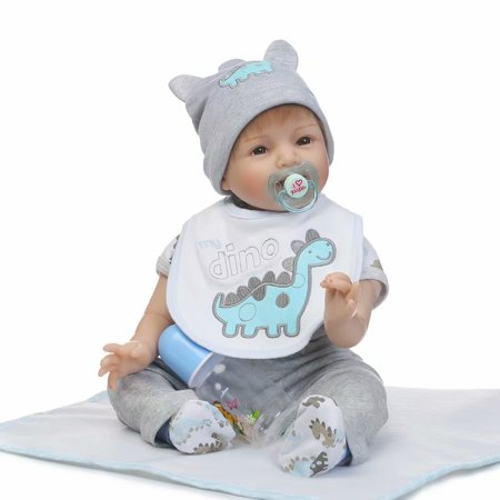 NPK Collection Reborn Baby Dolls ,22 Inch 55CM Full Silicone, Baby Dolls That Look Real Life, Kids Reborn Baby Doll Vinyl Lifelike Newborn Doll Best Christmas Gift Gray
