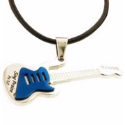"Necklace-Guitar-Psalm 7:17-Blue-18"" Cord (Stainless)"
