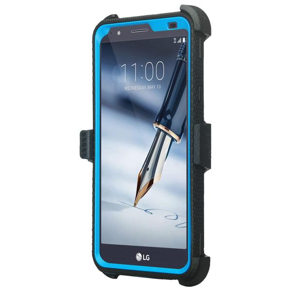 LG Stylo 4 Case, Rugged Series with Built-in [Screen Protector] Heavy Duty Full-Body Rugged Holster Armor Case [Belt Swivel Clip][Kickstand] (Blue) - image 2 de 6