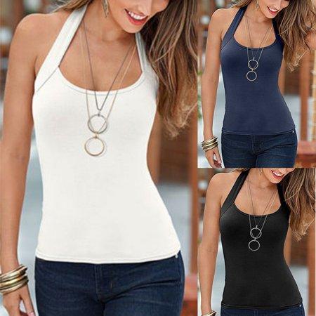 Black Sequin Halter - EFINNY Fashion Summer Women Sexy Vest Top Sleeveless Halter Blouse Casual Tank T-Shirt Tops