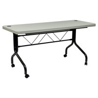 5' Resin Multi-Purpose Flip Table with Locking Casters, Grey