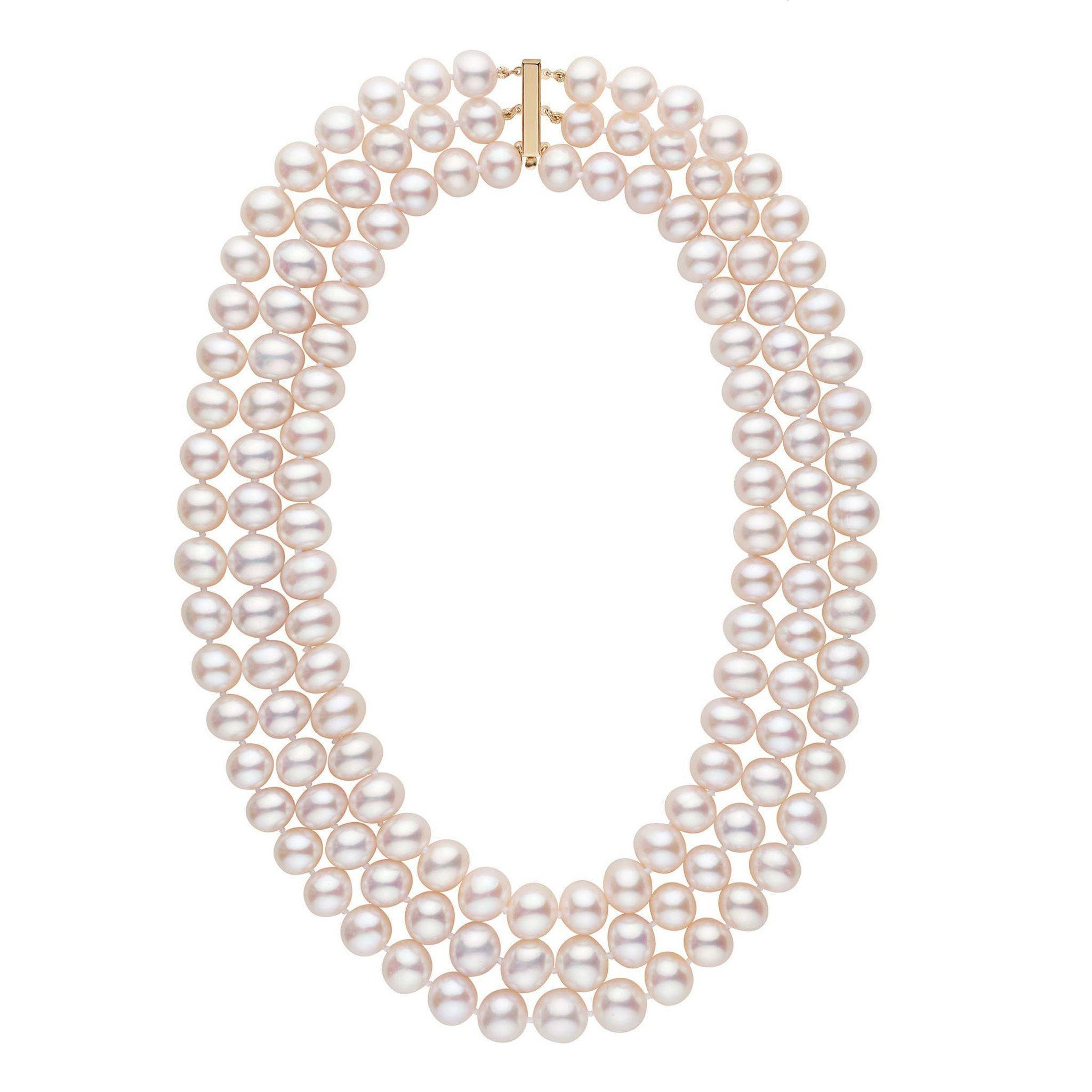 Triple Strand 9.5-10.5 mm AA+ White Freshwater Cultured Pearl Necklace by Pearl Paradise