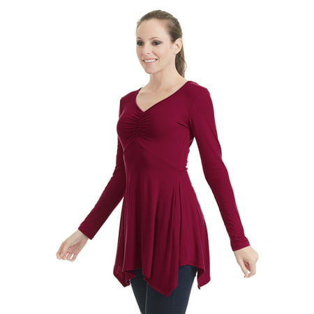 Empire Tunic Top - Womens Long Sleeve Ruched Empire Tunic Top With Side Panel XL Wine