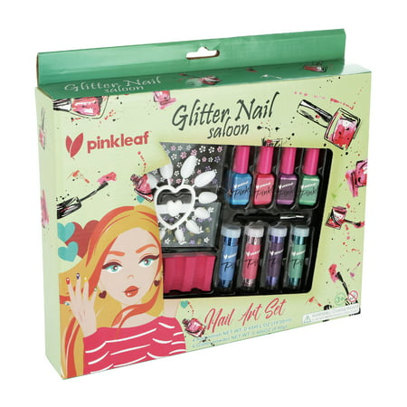 PinkLeaf Glitter Powder Nail Art Gift Kit for Kids 3+ - Non-Toxic Polish, Plastic Nails, Flower Stickers, Glittery Dust Pots & Applicator Brush](Easy Halloween Nails For Kids)