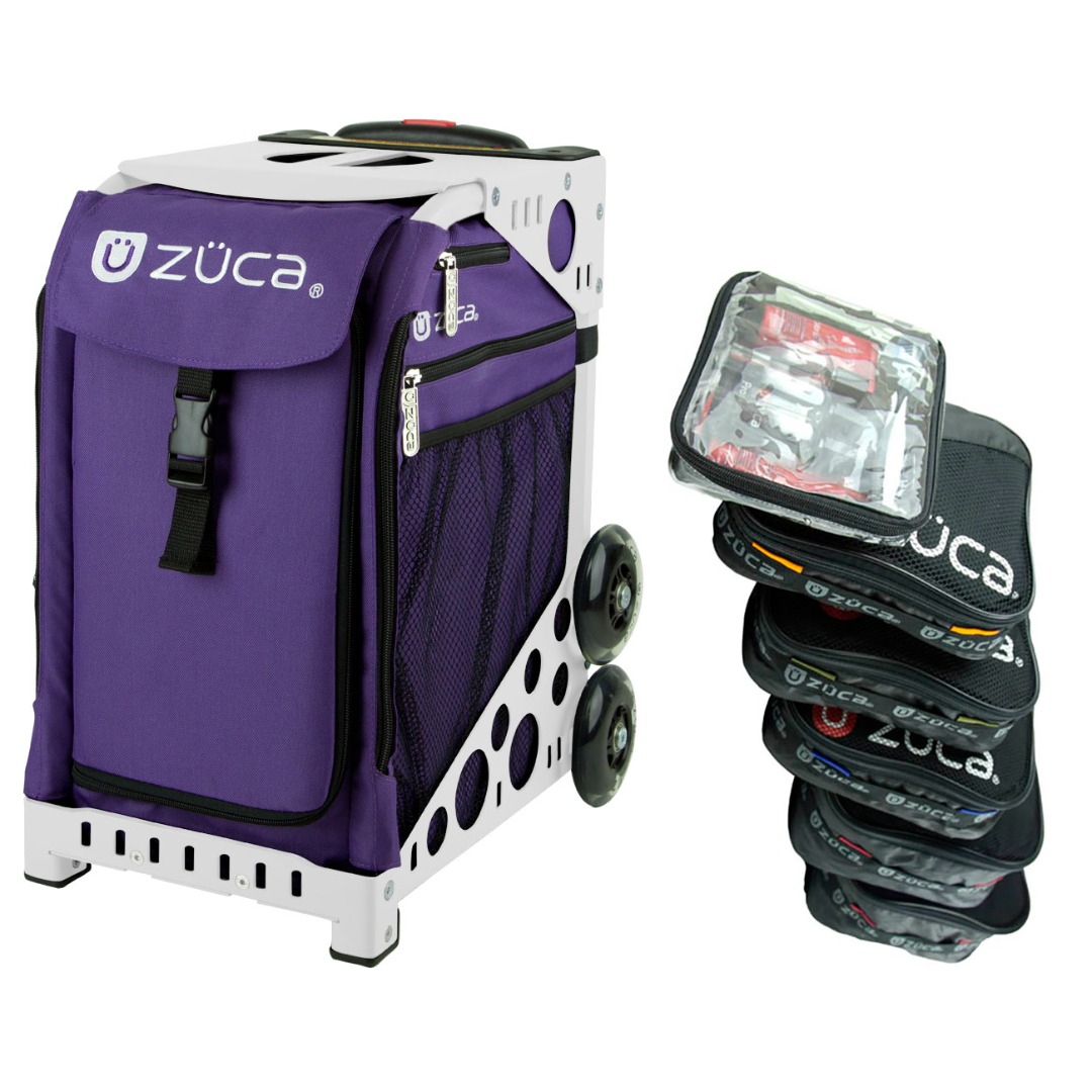 Zuca Rebel Sport Insert Bag with White Frame, and Organization Packing Pouch Set