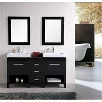 Design Element Group DEC091B New York 60 in. Double Sink Vanity Set, Espresso