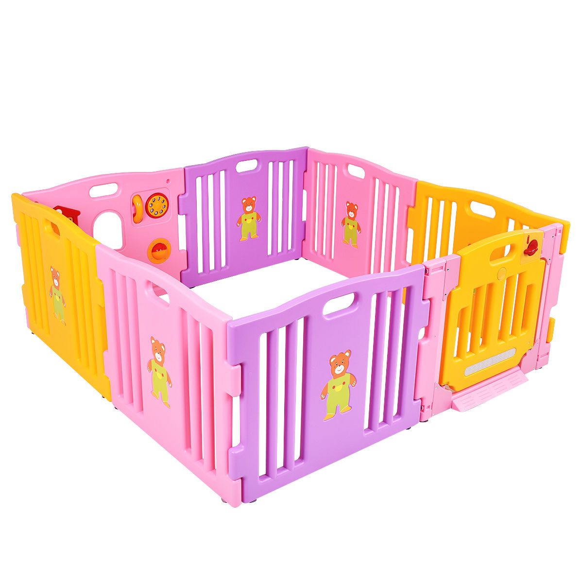Costway Pink 8 Panel Baby Playpen Kids Safety Play Center Yard Home Indoor Outdoor Pen by Costway