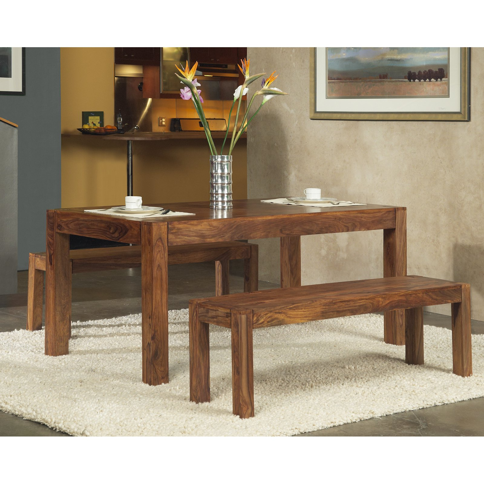 Modus Genus 3 Piece Dining Table Set with 2 Benches