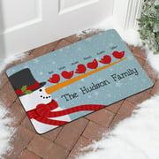 Personalized Cheery Snowman Bird Family Doormat