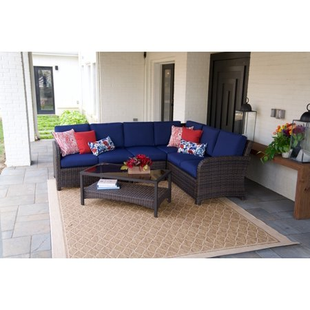 Jackson 5pc Outdoor Wicker Corner Sectional