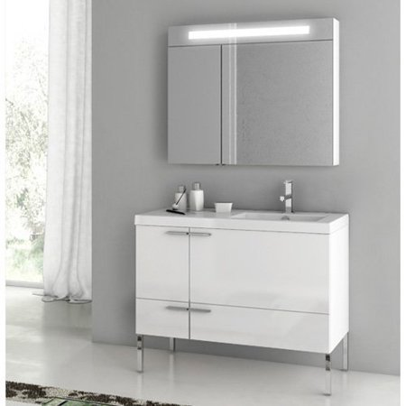 ACF by Nameeks ACF ANS23-GW New Space 39-in. Single Bathroom Vanity Set - Glossy White