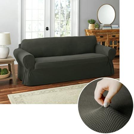 Mainstays Pixel 1 Piece Stretch Sofa Slipcover Black