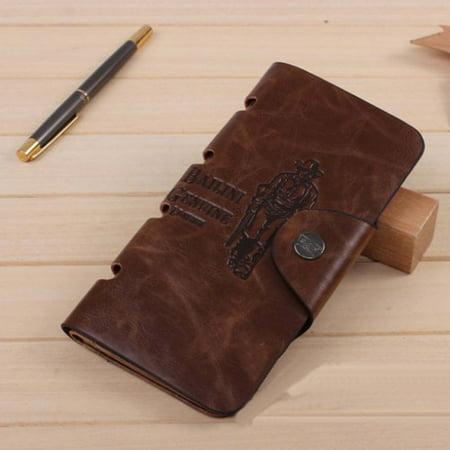 Bi Fold Clutch - IUNeed New Mens Leather Long Wallet Pockets ID Card Clutch Bifold Purse Brown