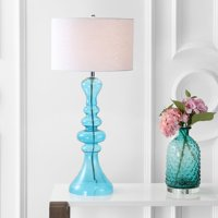"""Madeline 35"""" Curved Glass LED Table Lamp, Mercury Glass"""