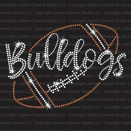 - Bulldogs Script Football Iron On Rhinestone and Rhinestud Transfer