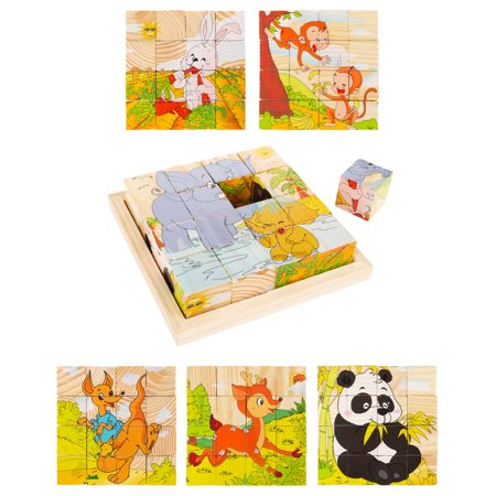 Animal Block Puzzle- 6-in-1 Zoo Patterns - by Hey! Play!