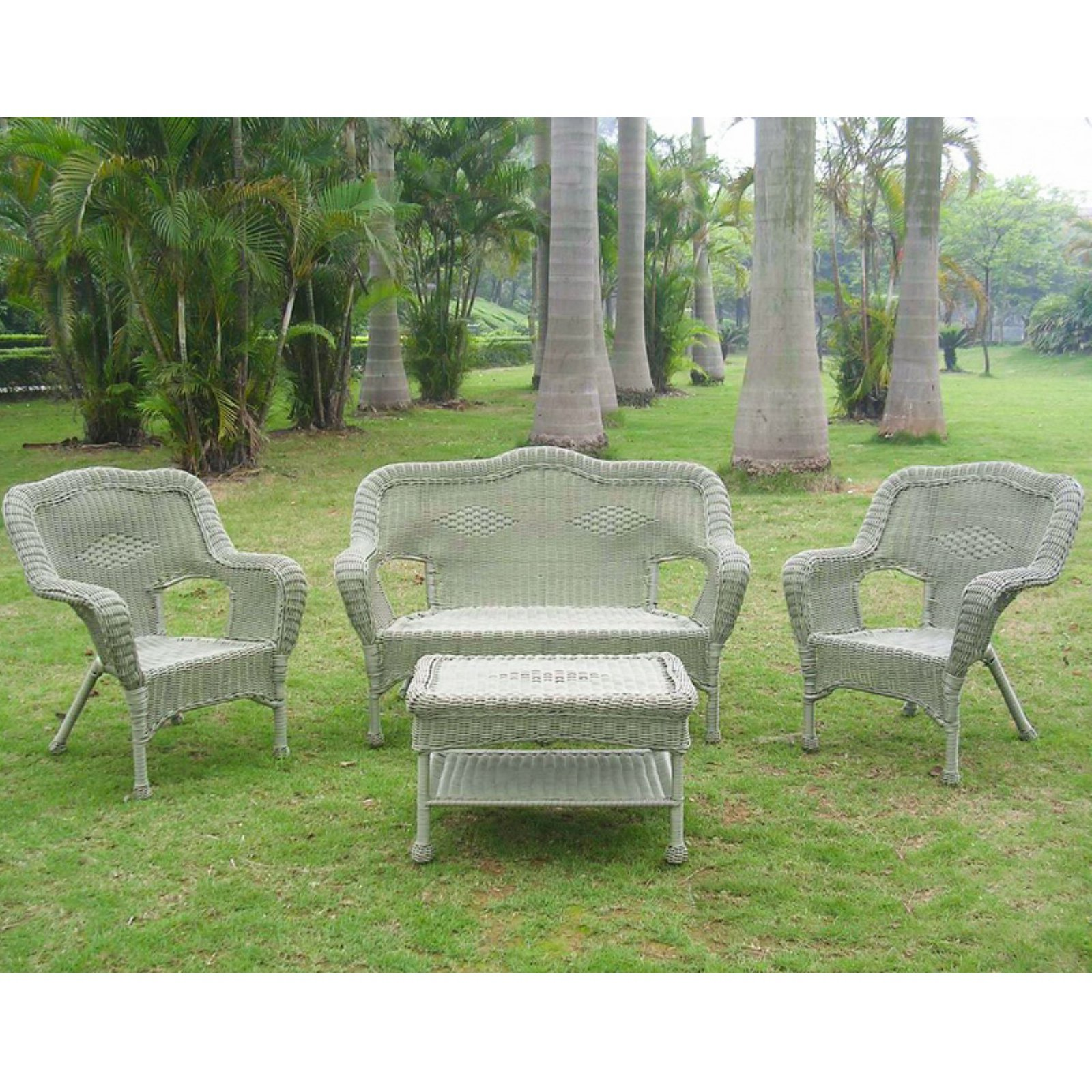 Beau International Caravan Madison Wicker Resin Patio Conversation Set   Seats 4    Walmart.com
