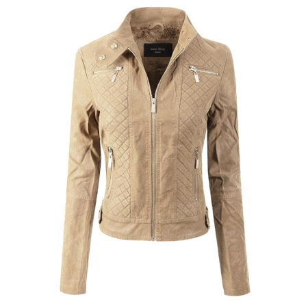 fe0e92560da Made by Olivia - Made by Olivia Women s Elegant Faux Suede Zip Up Moto  Biker Jacket Khaki XL - Walmart.com