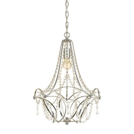 AF Lighting Castile 1-Light Mini Chandelier with Clear Glass Beads, Chrome