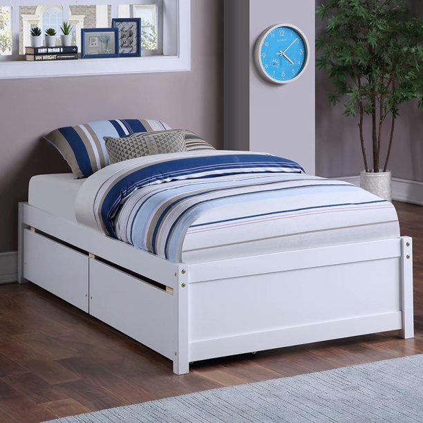 Wood Twin Storage Bed With 2 Drawers, White Twin Storage Bed Drawers