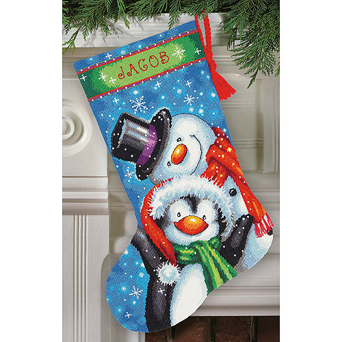 "Polar Pals Stocking Needlepoint Kit, 16"" Long, Stitched In Thread"