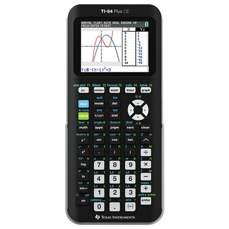 Texas Instruments TI-84 Plus CE Graphing Calculator, Matte Black The TI-84+ CE graphing calculator allows you to visualize concepts clearly and make faster, stronger connections between equations, data, and graphs in full color. Electronically upgradeable graphing calculator allows you to have the most up-to-date functionality and software applications. Built-in MathPrint functionality allows you to input and view math symbols, formulas and stacked fractions exactly as they appear in textbooks. TI graph link offers increased capacity and speed. Advanced functions accessed through pull-down display menus. Horizontal and vertical split screen options. USB port for computer connectivity, unit-to-unit communication.
