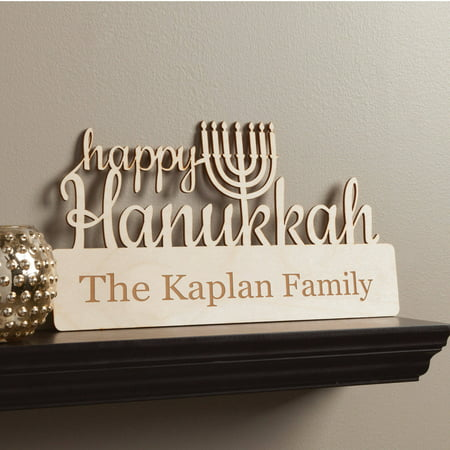 Happy Hanukkah Personalized Wood Plaque](Hanukkah Decor)