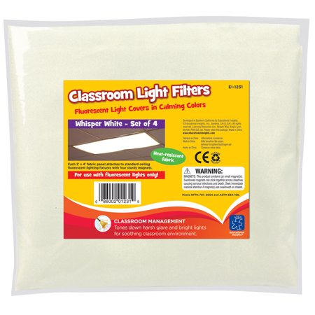 Light Filters Whisper White Pk4 (Light Covers For Classroom)