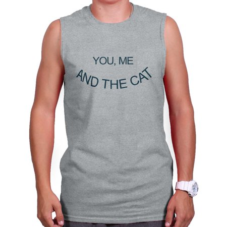 Brisco Brands You Me And The Cat Couples Pet Sleeveless T-Shirt For Men