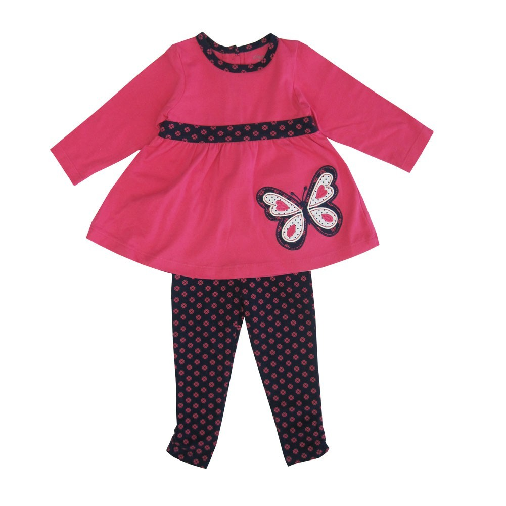 Little Me Little Girls Fuchsia Butterfly Applique 2 Pc Legging Set 2-4T
