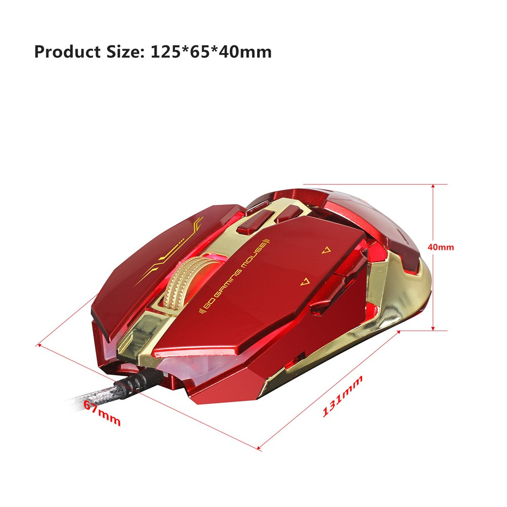 DZT1968 ZERODATE X800 Wired Gaming Mouse With 4 - level adjustable DPI LED Light