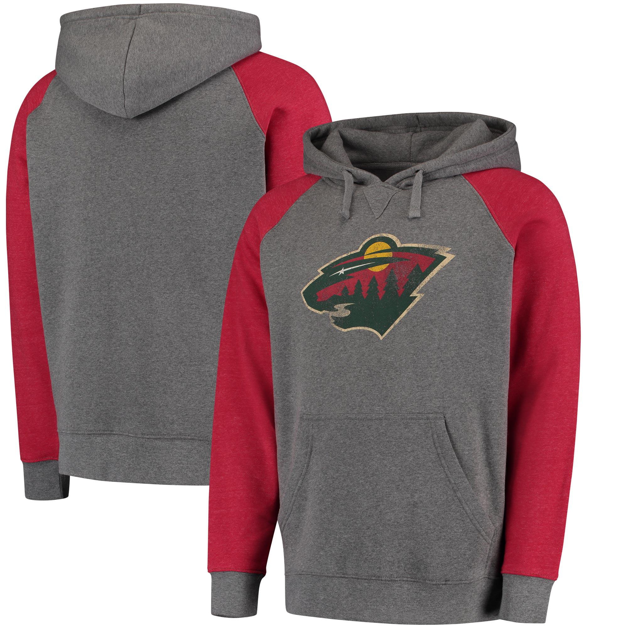Minnesota Wild Distressed Primary Logo Raglan Tri-Blend Pullover Hoodie - Gray/Red