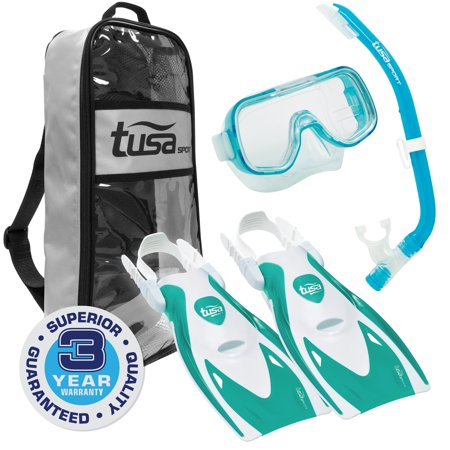 TUSA Sport Youth Mini-Kleio Mask, Snorkel, Fins Snorkeling Set, Clear Green
