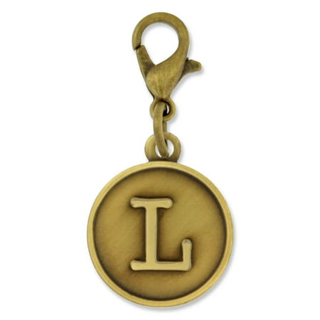 PinMart's Antique Gold and Silver Letter L Alphabet Initial - Alphabet Charms