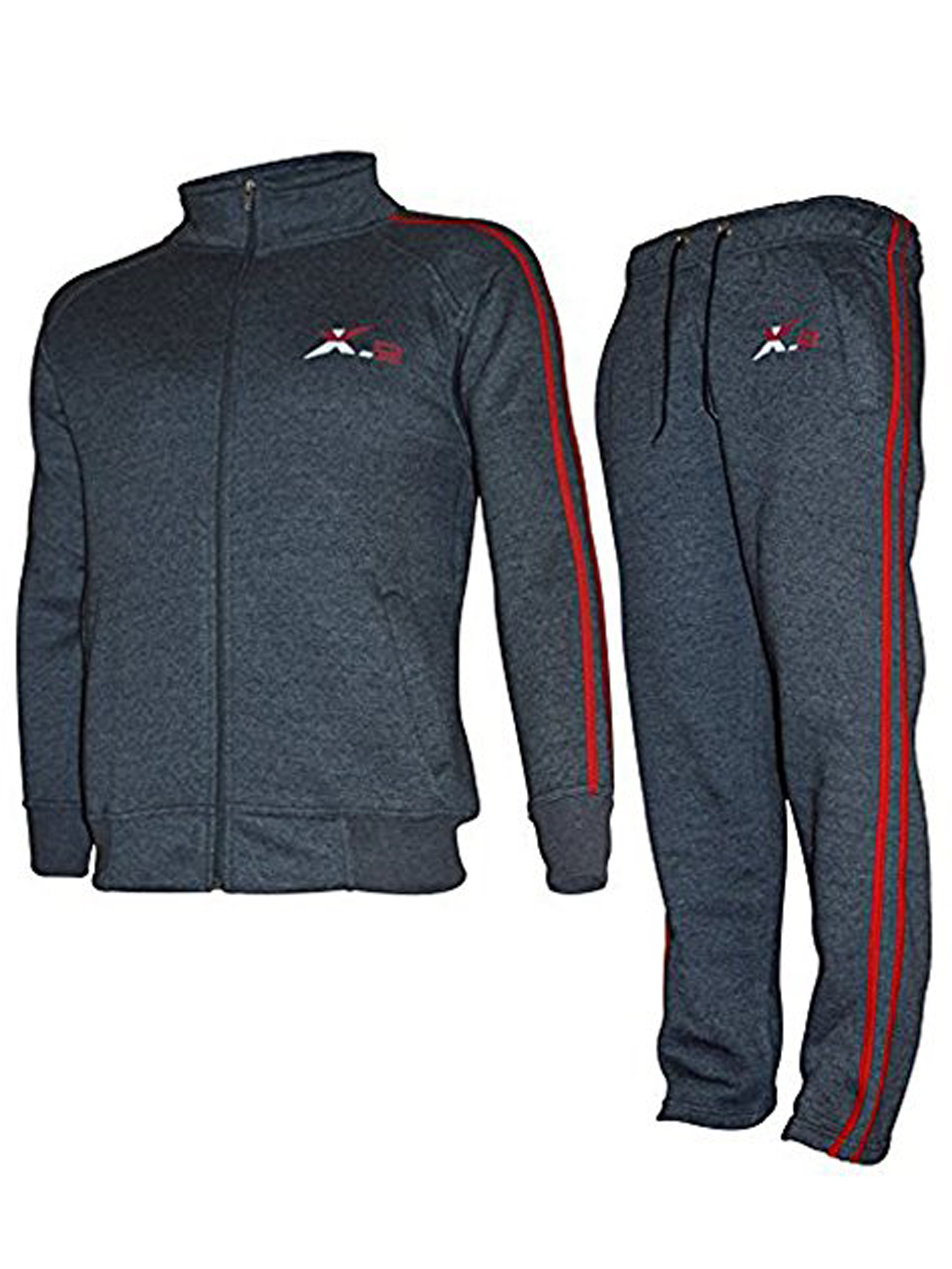 0cd545fa1 X-2 Mens Athletic Sweatsuit Full Zip Jogging Activewear Fleece Tracksuit