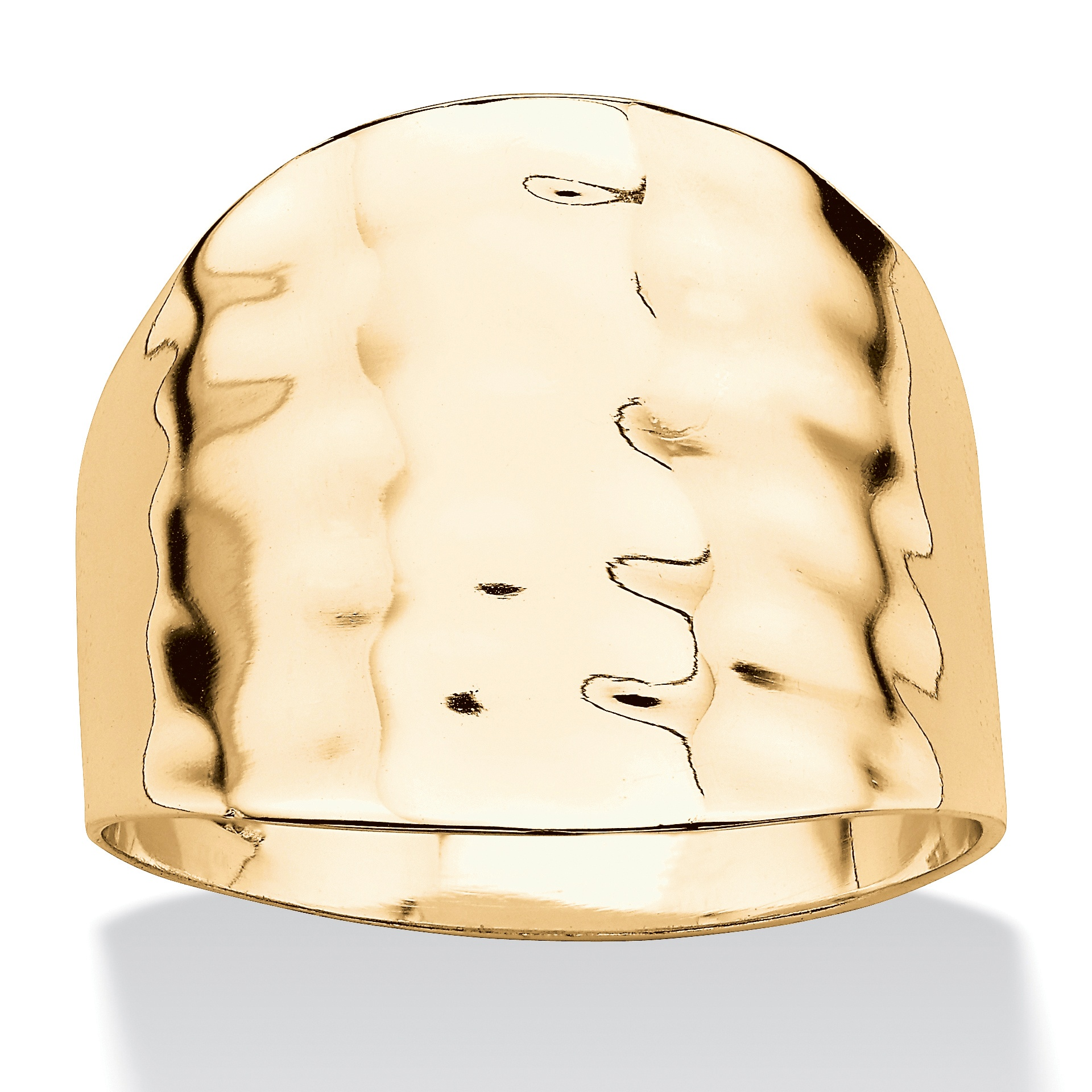 14k Yellow Gold-Plated Hammered Cigar Band Ring