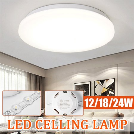 White - Art Modern LED Ceiling Light Fixture Chandeliers Round Surface Mount Kitchen Bedroom Living Room Lamp Home Lighting - 12/18/24W