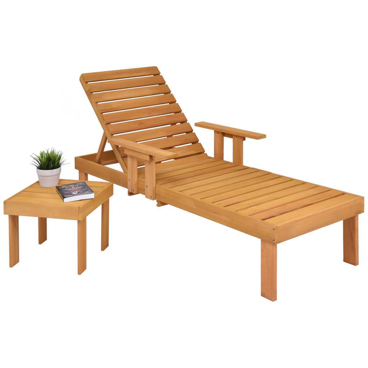 Gymax Patio Chaise Wood Sun Lounger Bench Side Tray Side Beach Table Set