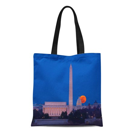 ASHLEIGH Canvas Tote Bag Large Full Moon Rises Through the Haze Over Capitol Reusable Shoulder Grocery Shopping Bags Handbag