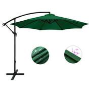 10Ft Patio Umbrella, Outdoor Banana Shape Sunshade Market Umbrella with W/Cross Base (Green)