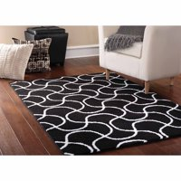 """Mainstays Drizzle Black/White Indoor Area Rug, 45""""x66"""""""
