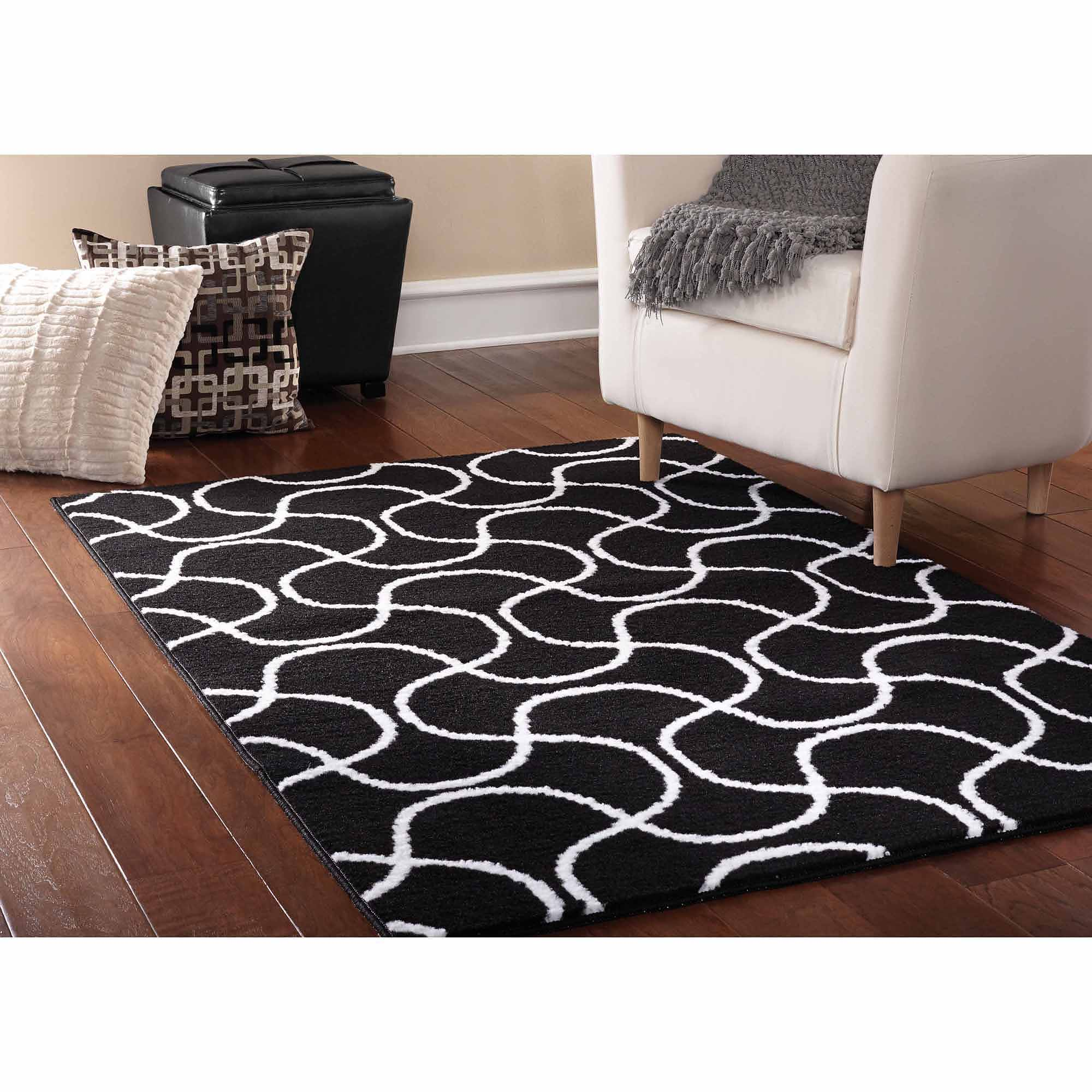 Mainstays Drizzle Area Rug, Black/White