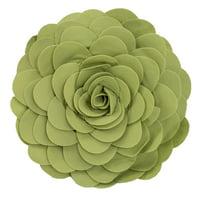 Eva's Flower Garden Decorative Throw Pillow - 13 inch Round (Lime-Case Only)