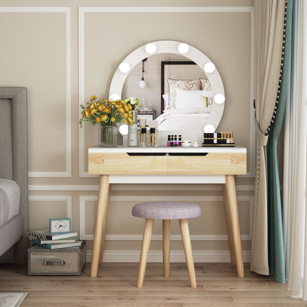 Tribesigns Vanity Set with Round Lighted Mirror, Wood ...