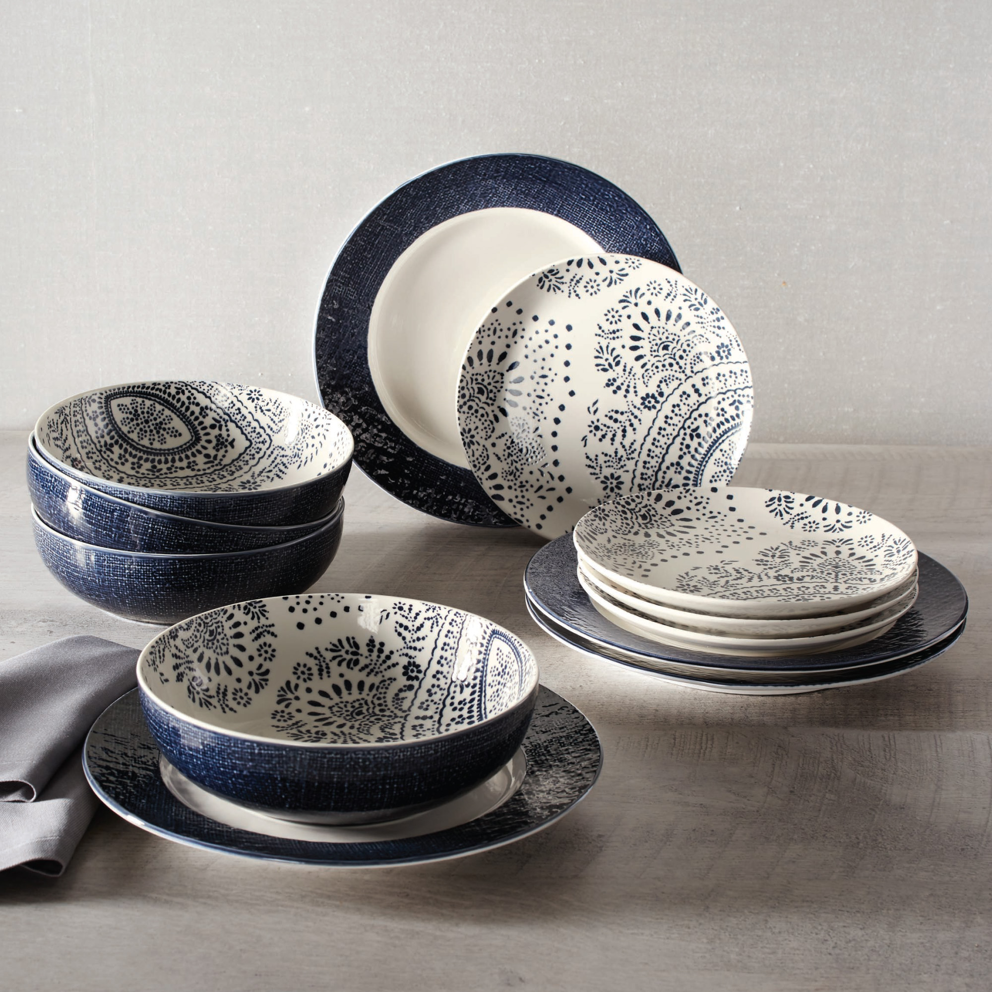 Better Homes & Gardens Lacey Blue and White Mix & Match 12 Piece Set